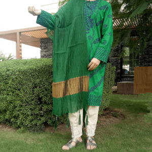 Crush Dupatta Masuri With Bottom Large Ball Tassels