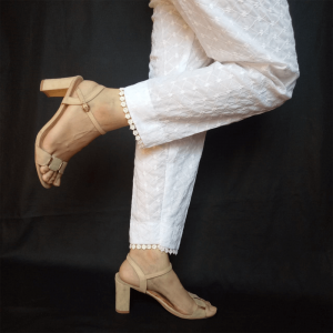 Full Embroided Pant Chikan Soft With Floral Lace