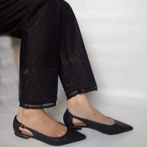 Chikan Trouser Pant For Women With Bottom Lace Black