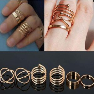 6 pieces Gold Ring Set For Women
