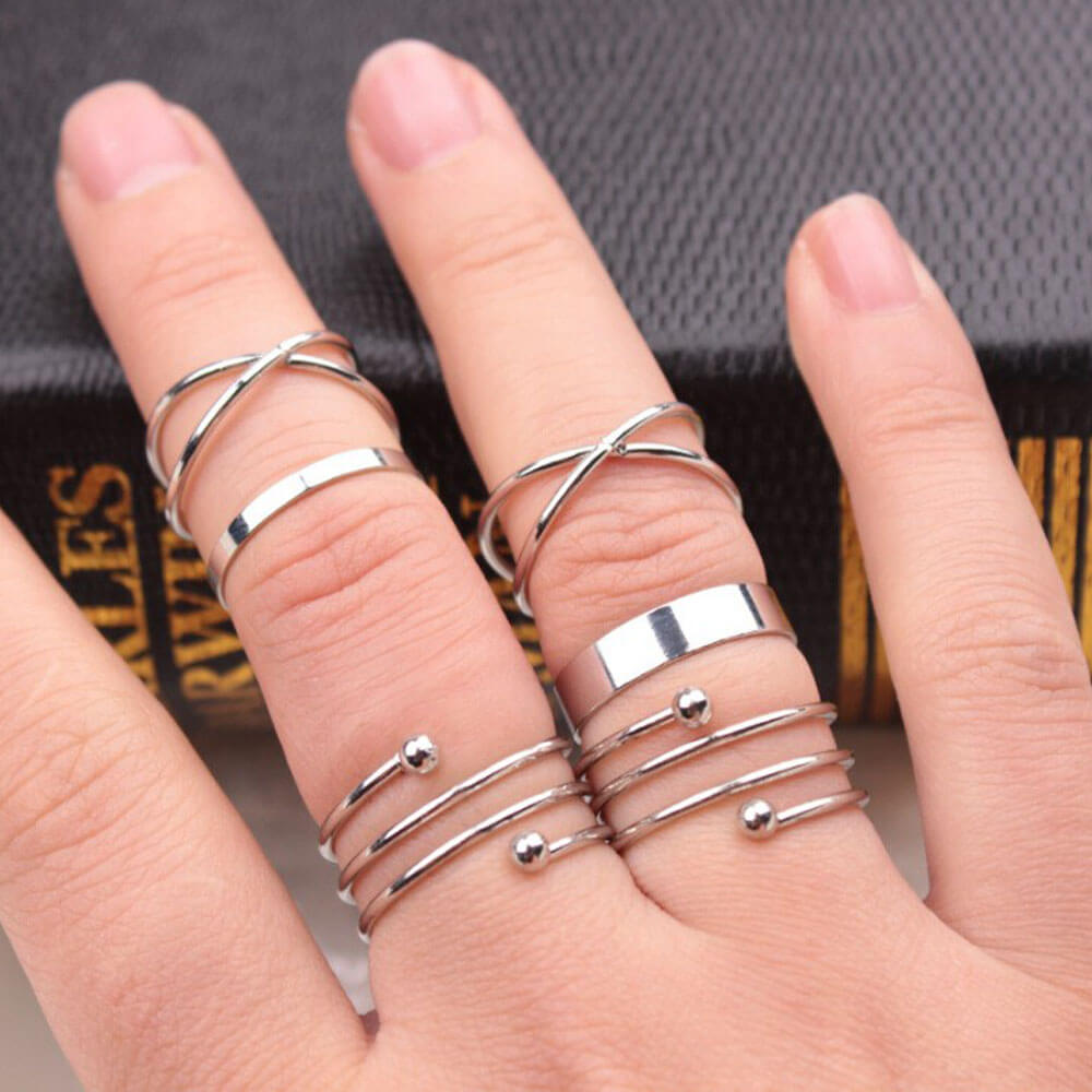 6 pieces Silver Ring Set For Women