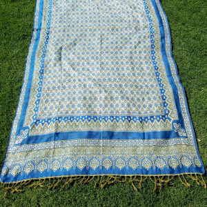 Ladies Winter Shawl Fancy With Tila Work Large 2.5 yard Blue