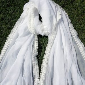 Chiffon Dupatta White Large With 4 Sided Lace