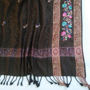 Embroided Winter Warm Wool Shawl For Women Ladies Large 2.5 yards Black
