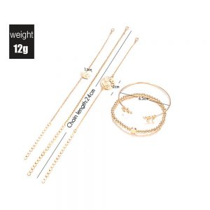 5 Pieces Gold Bracelets Set For Women Adjustable